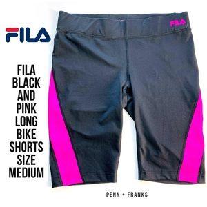 Fila Black and Pink Long Bike Shorts Medium